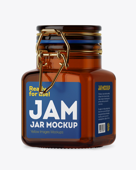 Download Free 100ml Amber Glass Jam Jar w/ Clamp Lid Mockup - Halfside View PSD Template