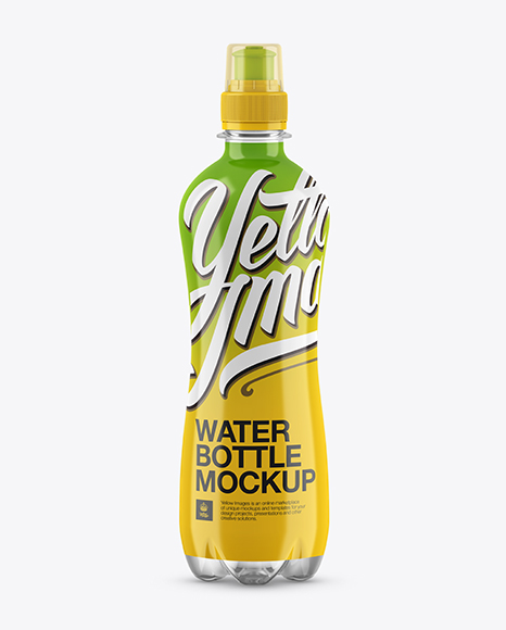 Download 500ml Clear PET Bottle With Sport Cap Mockup Object Mockups