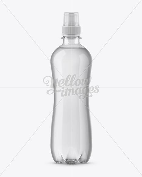 500ml Clear PET Bottle With Sport Cap Mockup