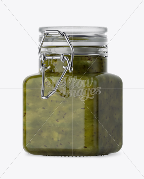 100ml Glass Kiwi Jam Jar W Clamp Lid Mockup Halfside View In Jar Mockups On Yellow Images Object Mockups