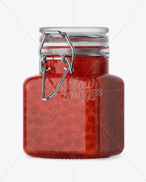 Download 100ml Glass Red Caviar Jar Clamp Lid Mockup Halfside View PSD - Free PSD Mockup Templates