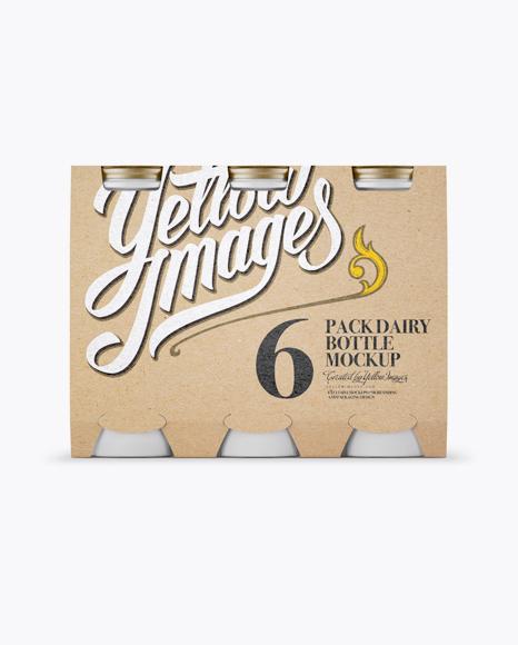 Download 6 Kraft Pack Matte Dairy Bottle Mockup - Front View Object Mockups