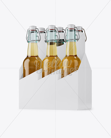 Download White Paper 6 Pack Clear Bottle Carrier Mockup Halfside View In Bottle Mockups On Yellow Images Object Mockups PSD Mockup Templates