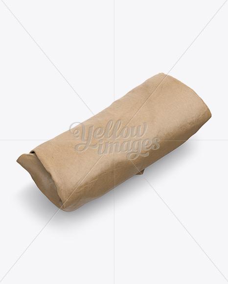 Kraft Burrito Wrapper Mockup - Halfside View