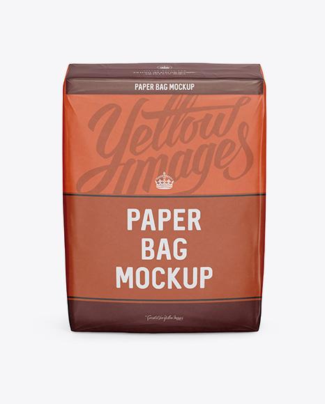 Paper Bag Mockup - Front View (High-Angle Shot)