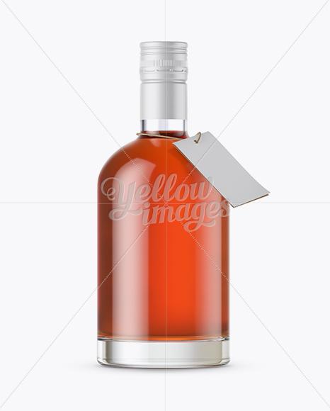Сognac Bottle with Shrink Band Mockup