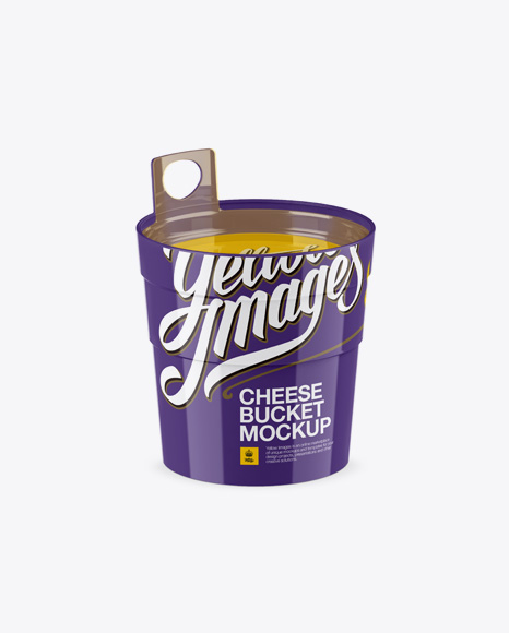 Download Glossy Cheese Bucket Mockup (High-Angle Shot) Object Mockups