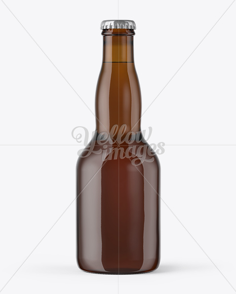 Amber Glass Bottle with Lager Beer Mockup