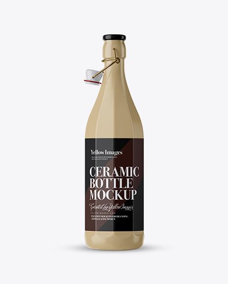 Download Ceramic Bottle With Clamp Lid Mockup Object Mockups
