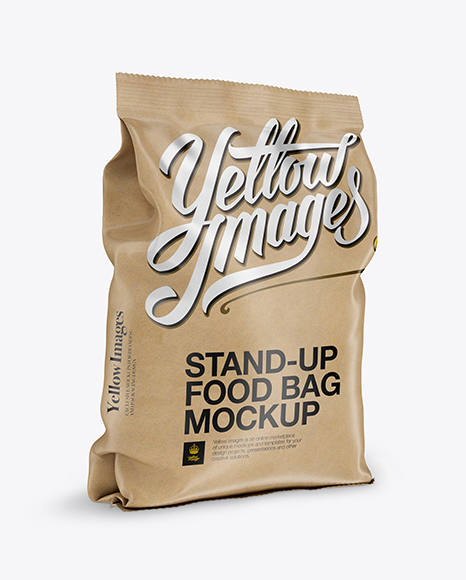 Download Free Kraft Stand-up Bag Mockup - Half Side View PSD Template