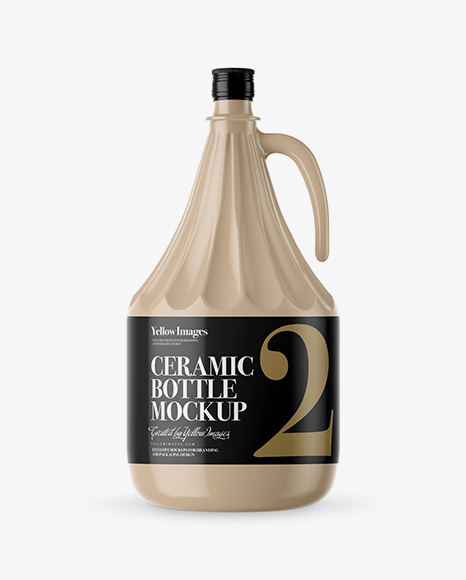 3L Glossy Ceramic Bottle With Handle Mockup