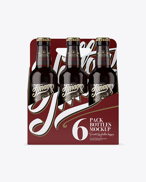 Download Free White Paper 6 Pack Amber Bottle Carrier Mockup - Front View PSD Template