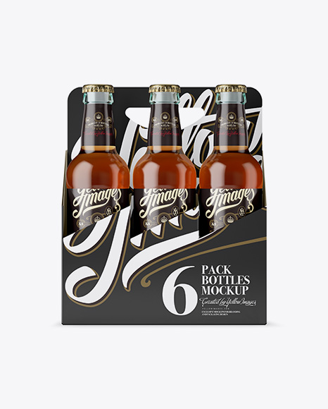 Download Free White Paper 6 Pack Clear Bottle Carrier Mockup - Front View PSD Template