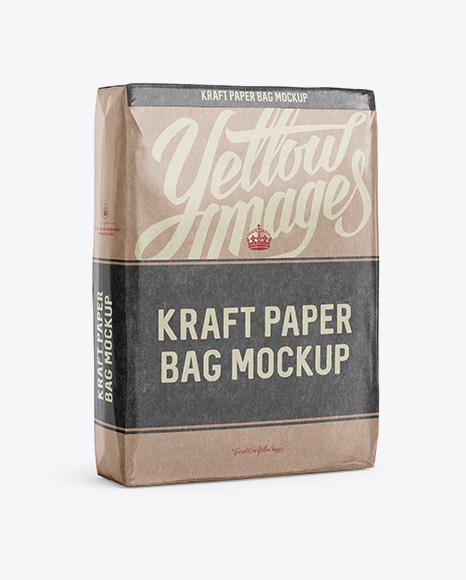 Glossy Kraft Paper Bag Mockup - Halfside View