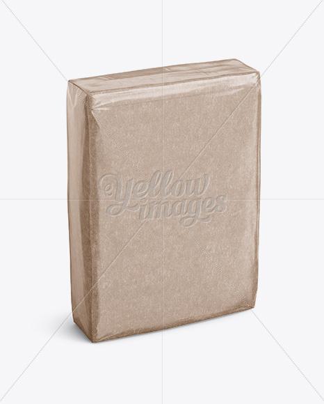 Glossy Kraft Paper Bag Mockup - Halfside View (High-Angle Shot)