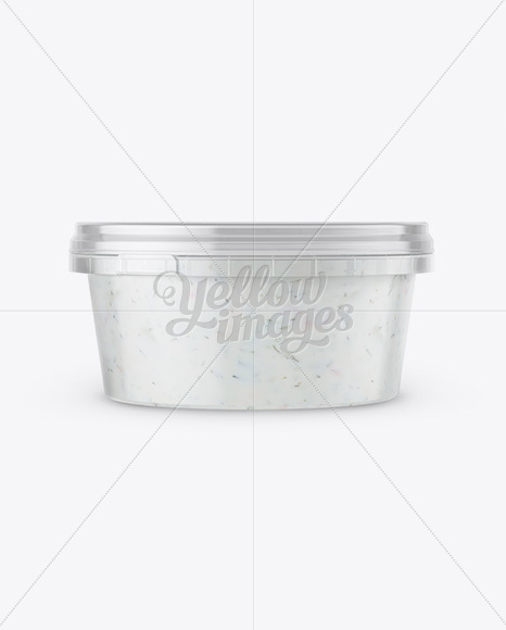Plastic Container With Sauce Mockup - Front & Top Views