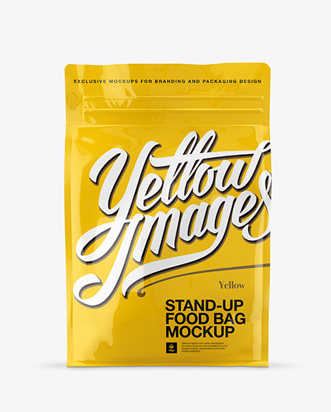 Glossy Stand-up Bag Mockup - Front View
