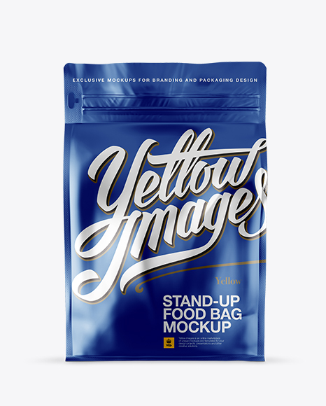 Download Matte Metallic Stand-up Bag Mockup - Front View Object Mockups