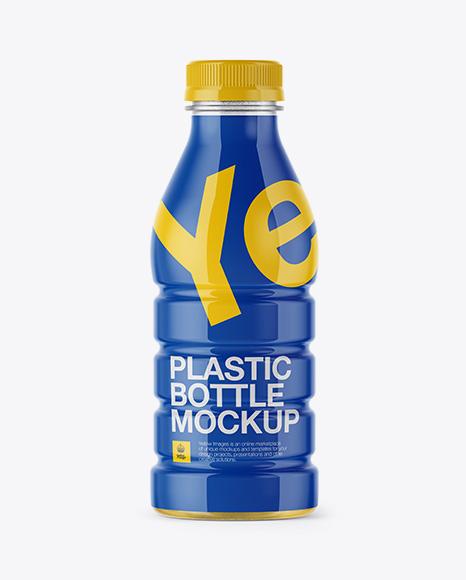 Plastic Blottle With Shrink Sleeve Mockup