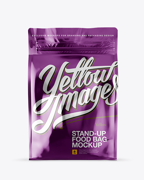 Download Free Metallic Stand-up Bag Mockup - front View PSD Template