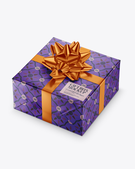 Download Free Matte Metallic Gift Box with Metallic Bow Mockup PSD Template