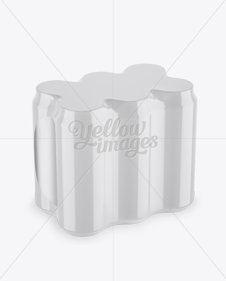 Pack with 6 Alminium Cans Mockup - Half Side View (High-Angle)