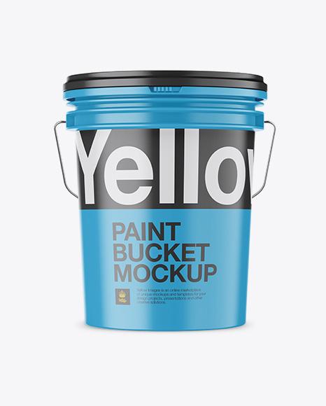 Matte Plastic Paint Bucket Mockup - Front View