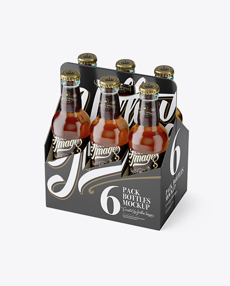 Download White Paper 6 Pack Clear Bottle Carrier Mockup Half Side View High Angle Shot In Bottle Mockups On Yellow Images Object Mockups PSD Mockup Templates