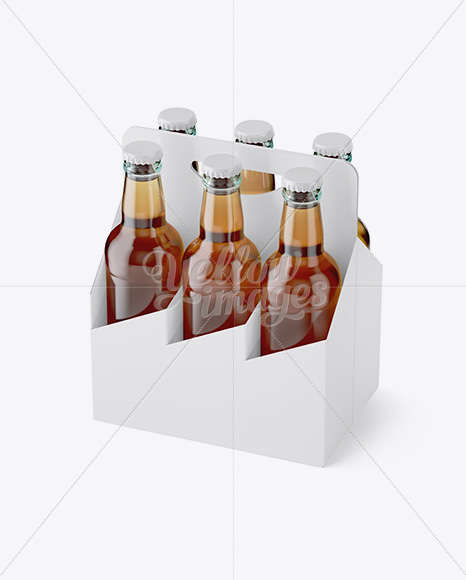 White Paper 6 Pack Clear Bottle Carrier Mockup - Half Side View (High-Angle Shot)