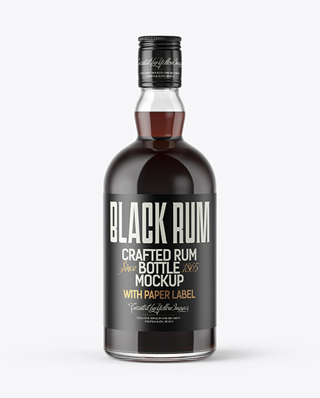 Download Clear Glass Bottle with Black Rum Mockup Object Mockups