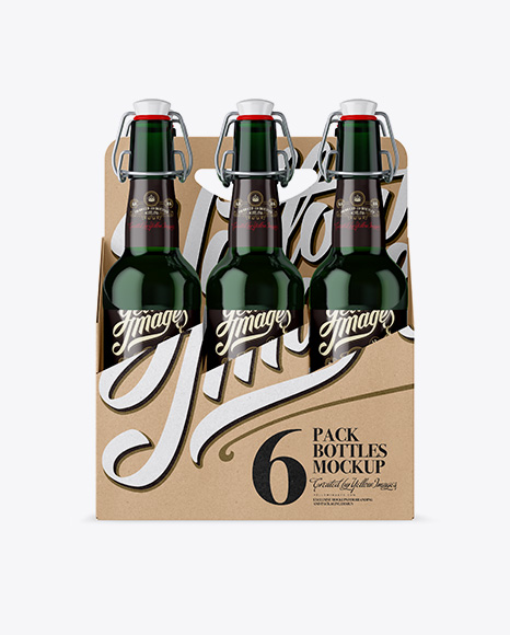 Download Free Kraft Paper 6 Pack Green Bottle Carrier Mockup - Front View PSD Template