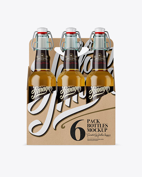 Kraft Paper 6 Pack Clear Bottle Carrier Mockup - Front View