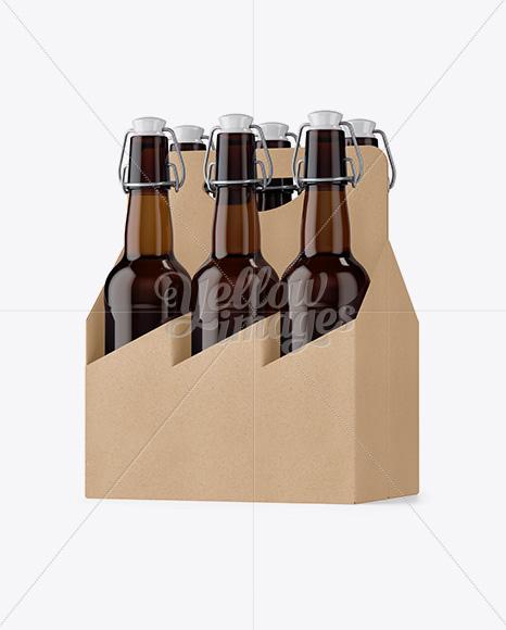 Download White Paper 6 Pack Amber Bottle Carrier Mockup Half Side View In Bottle Mockups On Yellow Images Object Mockups PSD Mockup Templates