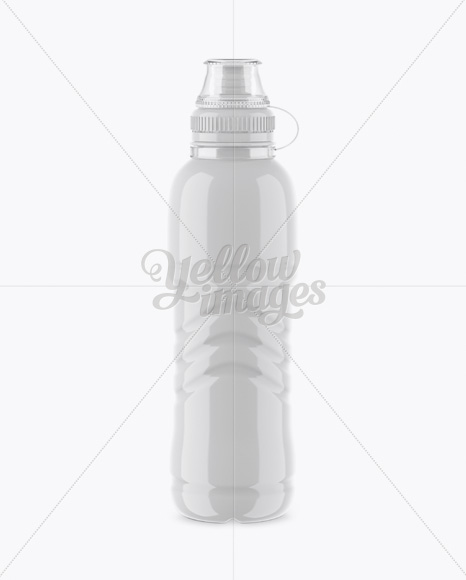 Glossy PET Bottle With Sport Cap Mockup