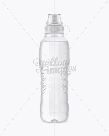 Clear PET Bottle With Sport Cap Mockup