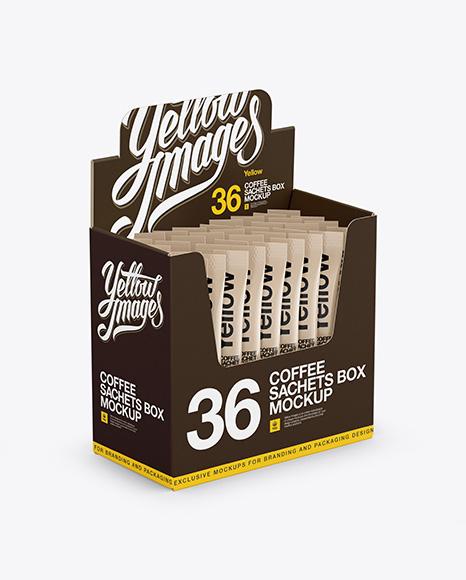 36x Sachets Open Box Mockup Halfside View In Box Mockups On