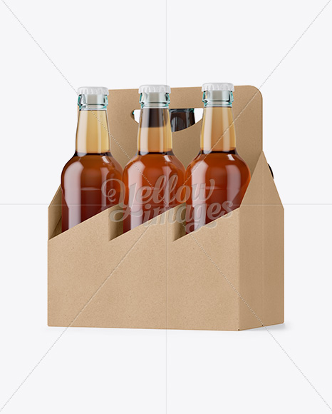 Kraft Paper 6 Pack Clear Bottle Carrier Mockup - Half Side View