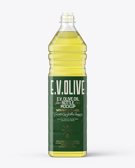 Download 1L Clear PET Bottle with Olive Oil Mockup Object Mockups
