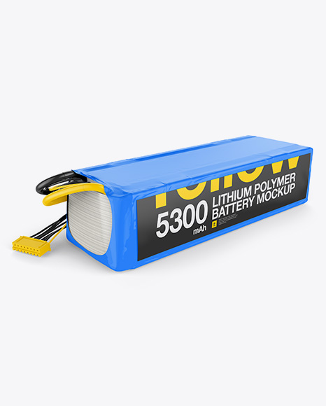 5300mAh 7S Lithium Polymer Battery Mockup - Half Side View