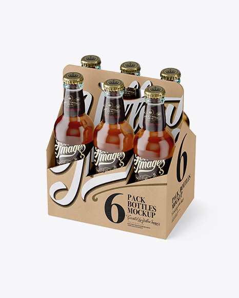 Download Kraft Paper 6 Pack Clear Bottle Carrier Mockup - Half Side View (High Angle Shot) Object Mockups