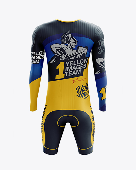 Men's Cycling Speedsuit LS mockup (Back View)