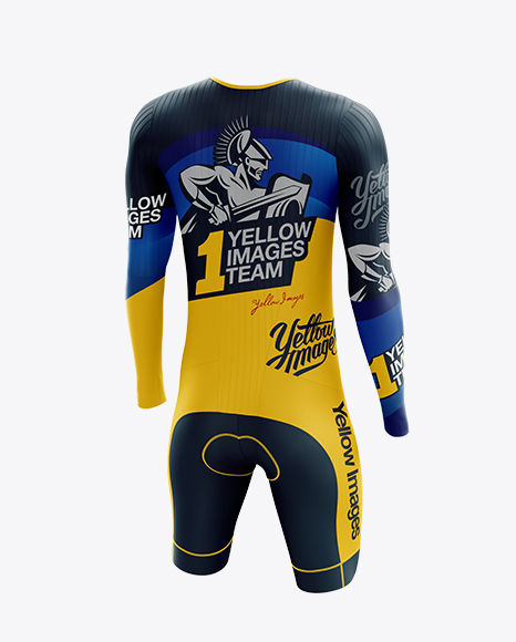 Men's Cycling Speedsuit LS mockup (Back Half Side View)