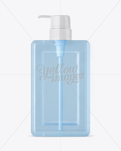 Download Clear Plastic Bottle With Pump Mockup Front View In Bottle Mockups On Yellow Images Object Mockups PSD Mockup Templates