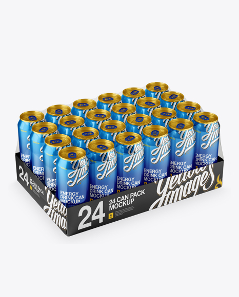 Download Transparent Pack with 24 Aluminium Cans Mockup - Halfside View (High-Angle Shot) Object Mockups