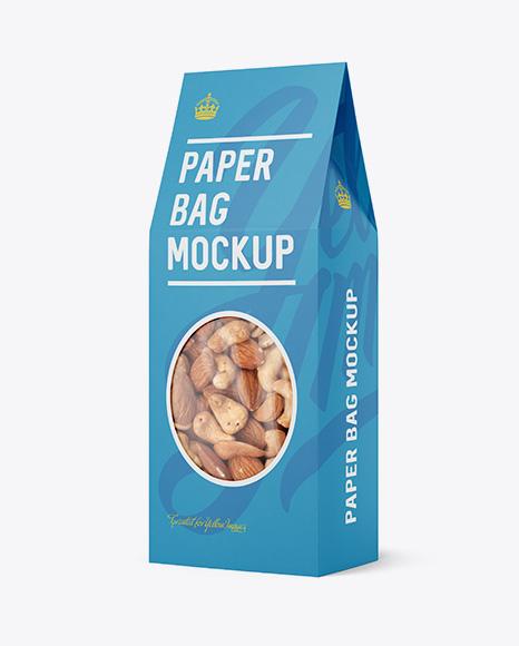 Download Paper Bag W/ Window Mockup - Halfside View Object Mockups