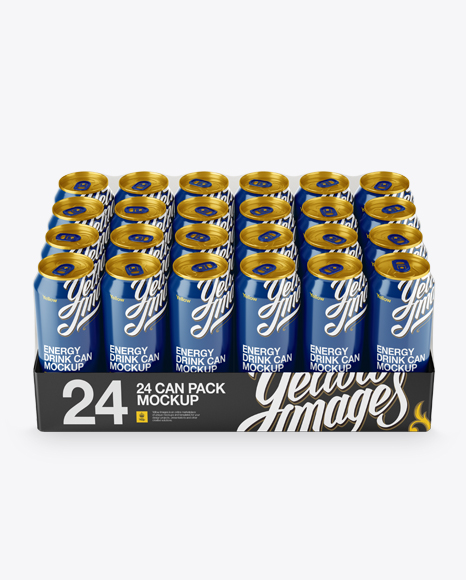 Download Free Transparent Pack with 24 Glossy Aluminium Cans Mockup - Front View (High-Angle Shot) PSD Template