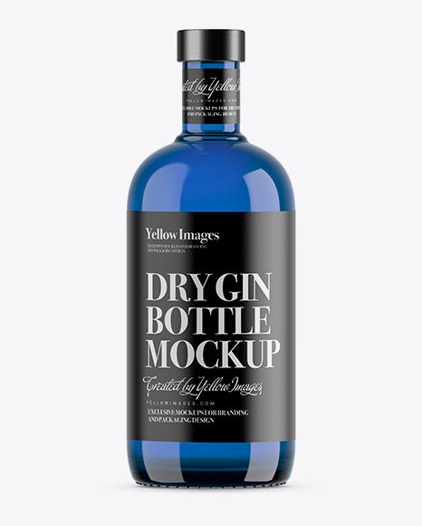 700ml Blue Glass Dry Gin Bottle Mockup