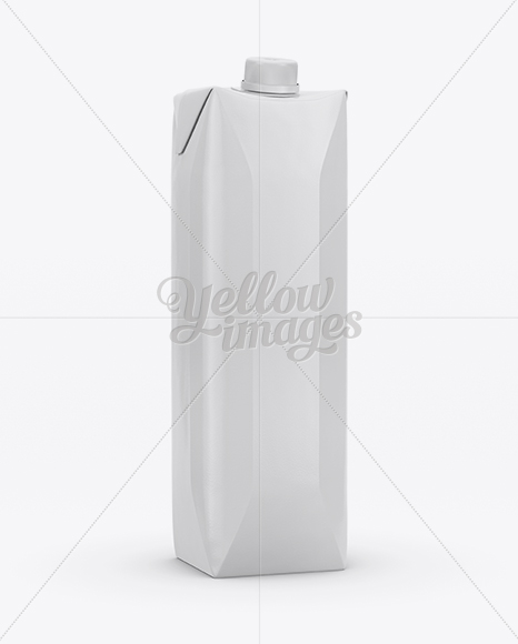 1L Glossy Carton Box Mockup - Half Side View