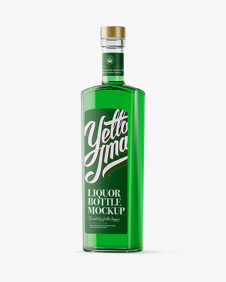 Download 500ml Square Clear Glass Absinthe Bottle Mockup Half Side View PSD - Free PSD Mockup Templates