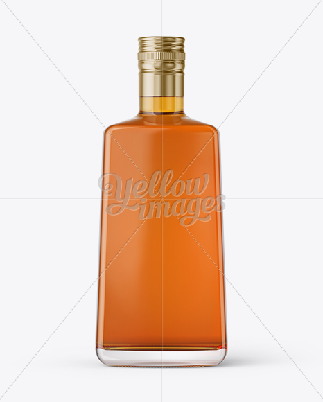 Square Clear Glass Bottle with Whiskey Mockup